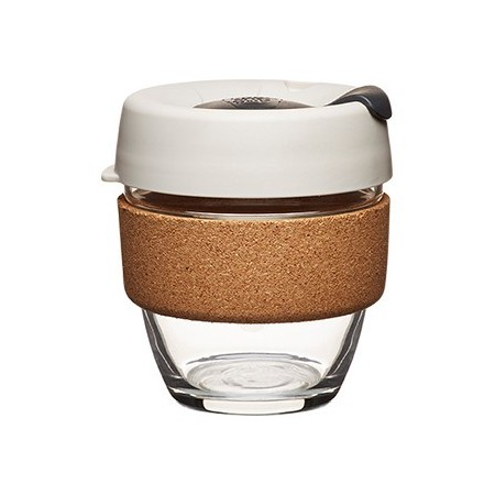 KeepCup small glass cup cork band 8oz (227ml) – beige