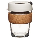 KeepCup medium glass cup cork band 12oz (340ml) – beige