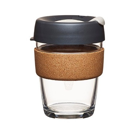 KeepCup medium glass cup cork band 12oz (340ml) – dark grey
