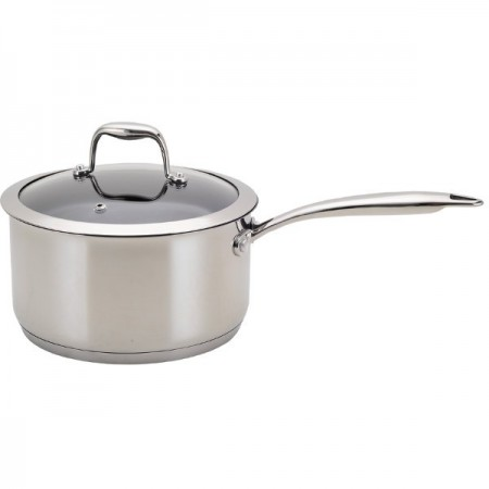 Neoflam 18cm non stick sauce pan - stainless steel with glass lid