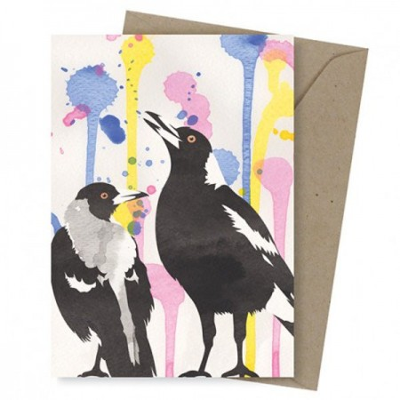 Earth Greetings greeting card - singing magpies
