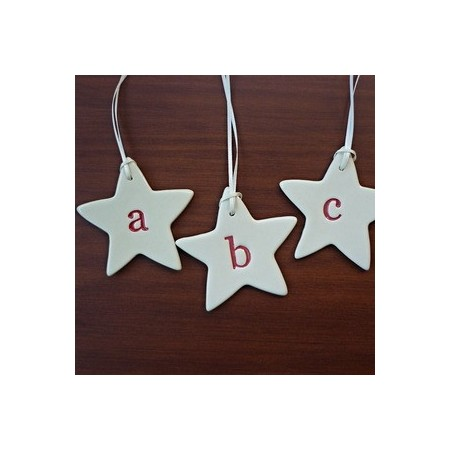 Monogram ceramic star decoration - letter U