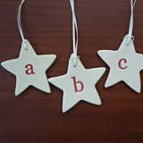 Monogram ceramic star decoration - letter V