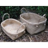 Woven seagrass basket with handles - small