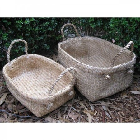 Woven seagrass basket with handles - large rectangle