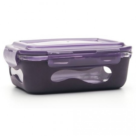 U konserve glass container rectangle 1L - eggplant
