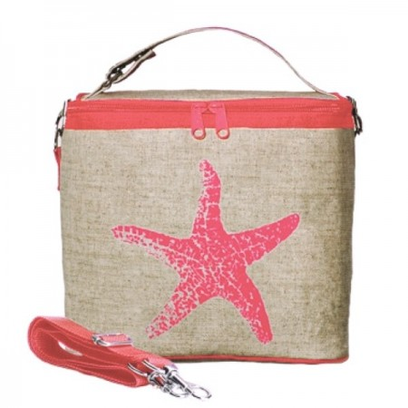 Insulated lunch bag small - neon orange starfish by SoYoung