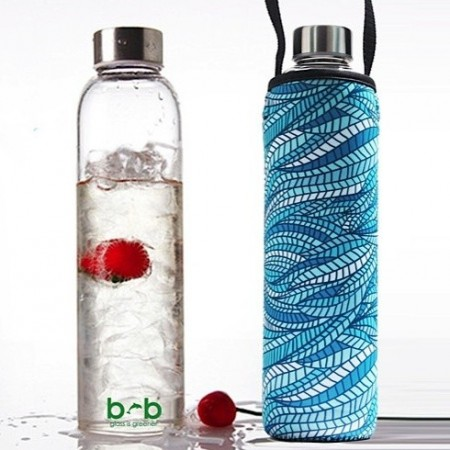 BBBYO glass water bottle + cover combo 750ml - sealeaf