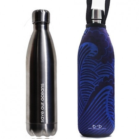 BBBYO 750ml Stainless Steel Water Bottle with Cover - Silver Tsunami