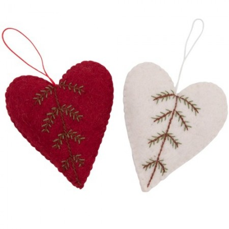 Fairtrade felt decoration (1) - stitched pine tree heart