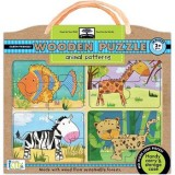 Green start wooden puzzle - animal patterns