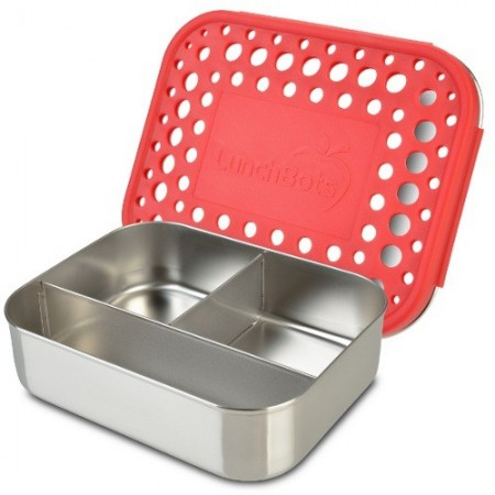 LunchBots stainless steel lunch box - trio red dots