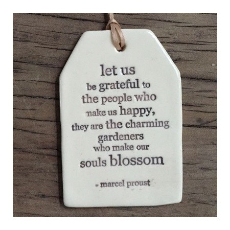 'let us be grateful...' ceramic quote tag by Kylie Johnson