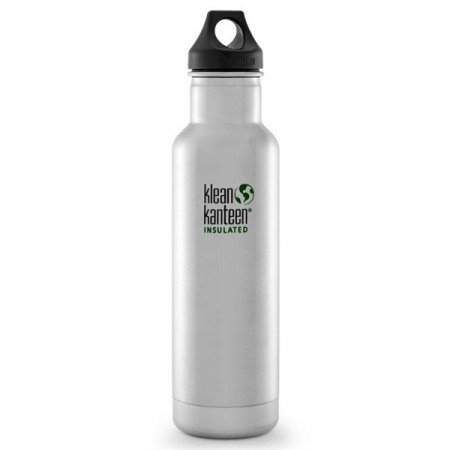 Klean Kanteen classic insulated 20oz 592ml Water Bottle - brushed steel