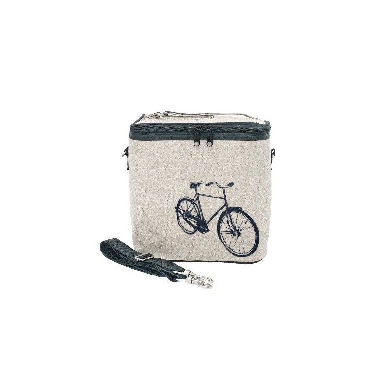 insulated large lunch bag navy grey bicycle by soyoung biome. Black Bedroom Furniture Sets. Home Design Ideas