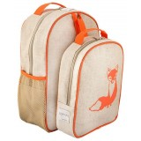 SoYoung raw linen toddler backpack lunch set - orange fox