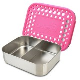 LunchBots stainless steel lunch box - duo dots pink