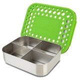 LunchBots stainless steel lunch box - quad green dots