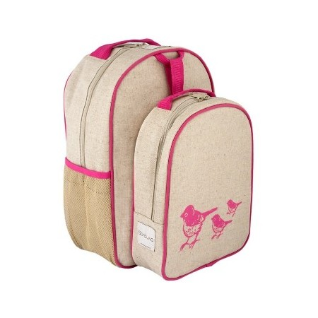 SoYoung raw linen toddler backpack lunch set - pink birds