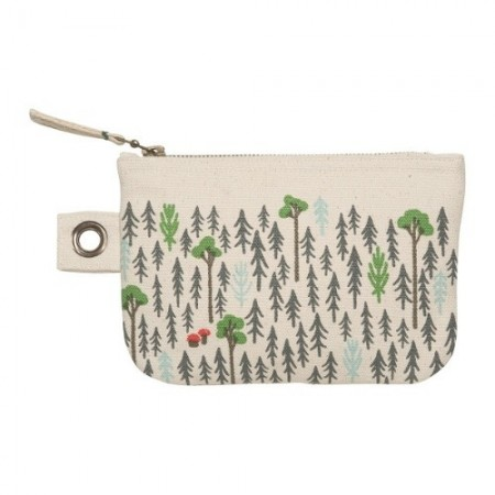 100% cotton zip pouch small - retreat pine trees