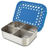 Lunchbots stainless steel lunch box - quad royal blue dots