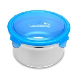 Lunchbots Stainless Container with Plastic Lid 1L blue lid