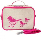 SoYoung insulated lunch box - Pink Birds raw linen