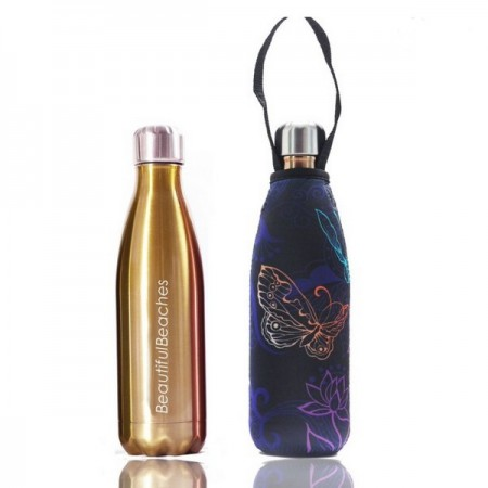 BBBYO 500ml Stainless Steel Water Bottle with Cover - Gold/Butterfly