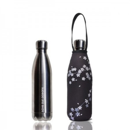 BBBYO 500ml Stainless Steel Water Bottle with Cover - Silver Spring