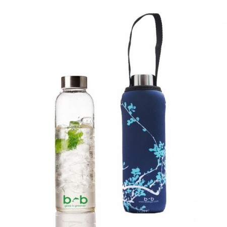 BBBYO Glass Water Bottle with cover 570ml Blue Blossom