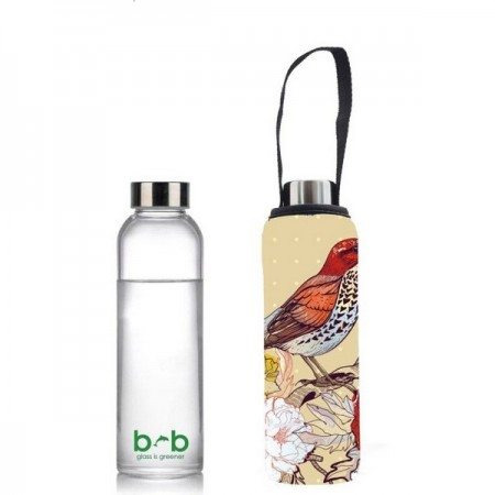 BBBYO Glass Water Bottle with Cover 570ml Bird