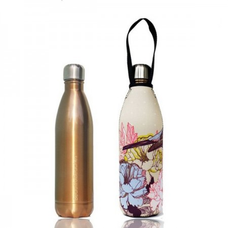 BBBYO 750ml Stainless Steel Water Bottle with Cover - Gold Bird