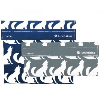 Lunchskins resuable sandwich bag and snack bag set – Navy Wolf