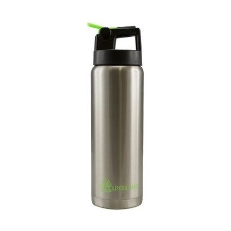 Cheeki 600ml Insulated Stainless Steel Water Bottle with Straw - Silver