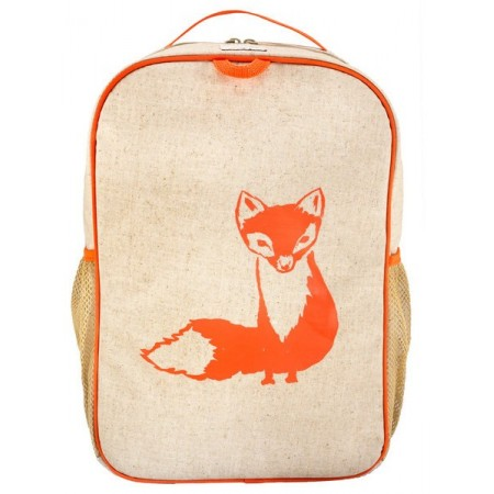 SoYoung raw linen toddler backpack - orange fox