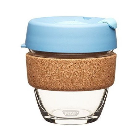 KeepCup small glass cup cork band 8oz (227ml) – rock salt
