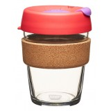 KeepCup medium glass cup cork band 12oz (340ml) – sumac