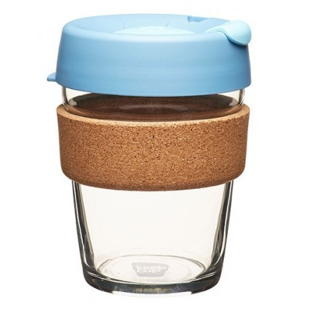 KeepCup medium glass cup cork band 12oz (340ml) – rock salt