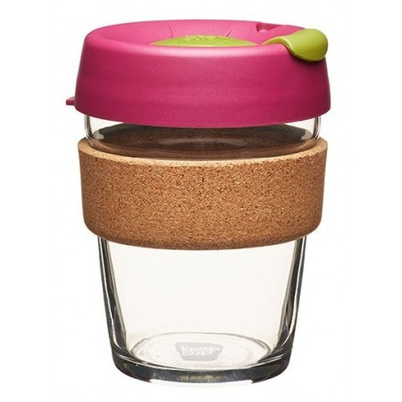 KeepCup medium glass cup cork band 12oz (340ml) – cinnamon