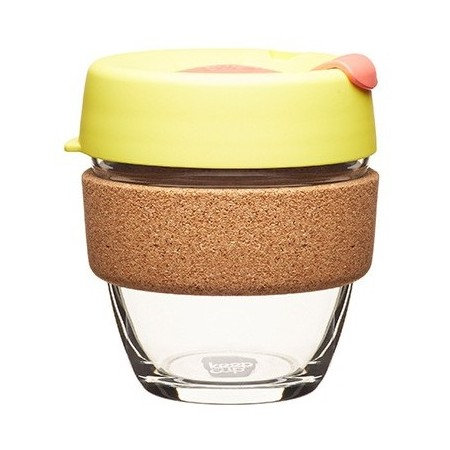 KeepCup small glass cup cork band 8oz (227ml) – saffron