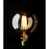 Vintage LED round light bulb G125 long filament 6W edison E27 - clear glass