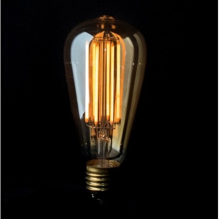 Vintage LED light bulb ST64 long filament 6W edison E27 - clear glass