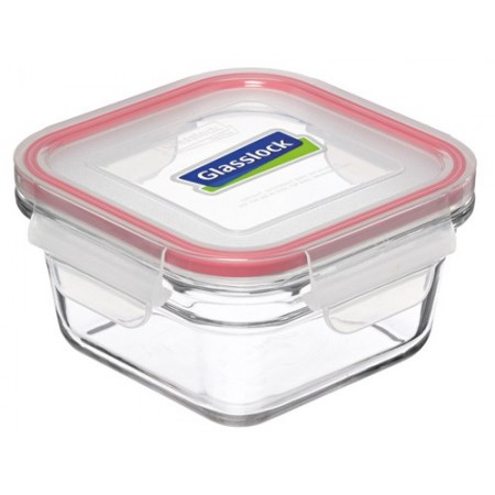 Glasslock oven safe container 1650ml square red