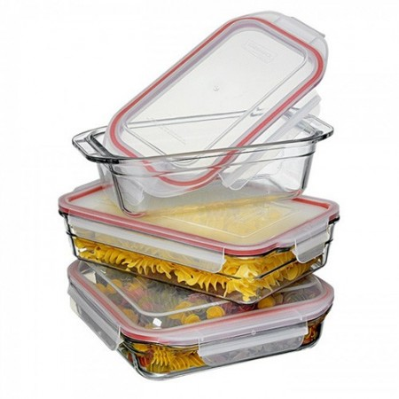 Oven safe Glasslock bakeware set 3 piece red