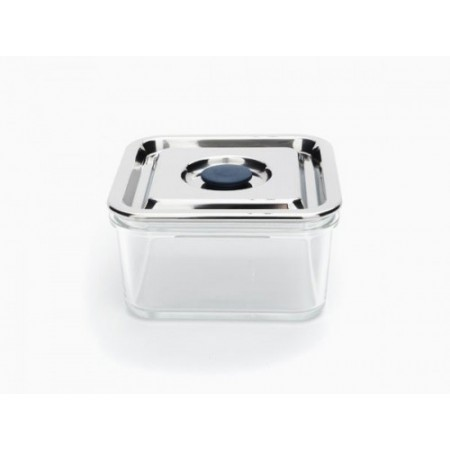 Onyx airtight glass container stainless steel lid Square 890ml