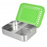 LunchBots Bento Box Trio Green Dots