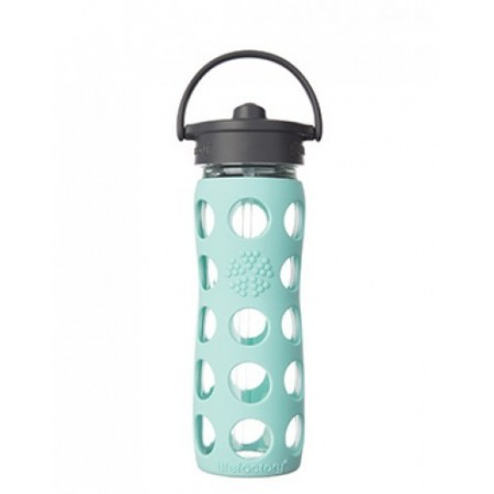 Lifefactory Glass Water Bottle Straw Cap 16oz 475ml Turquoise