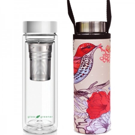 BBBYO Glass Tea Flask with Cover 500ml - Bird