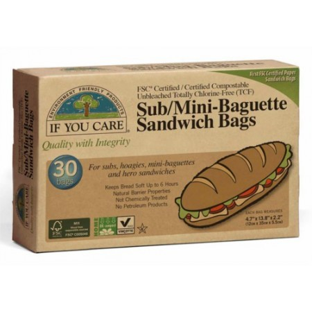 If You Care Sub/Mini-Baguette Sandwich Bags (30) unbleached chlorine free