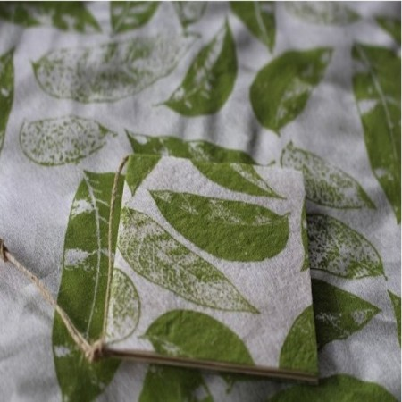 Bamboo Paper Gift Wrap and Tag - Leaves